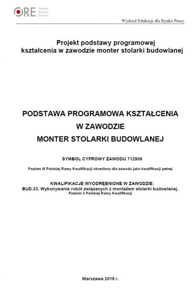 Projekt podstawy programowej kształcenia w zawodzie monter stolarki budowlanej