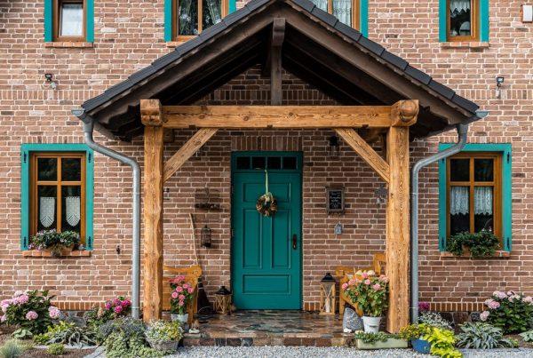 Nexbau – Turkusowe drzwi drewniane do domu jednorodzinnego – Drzwi Zewnętrzne